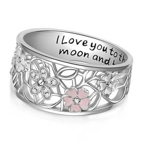 Sterling Silver Cherry Blossom Pink Sapphire Ring